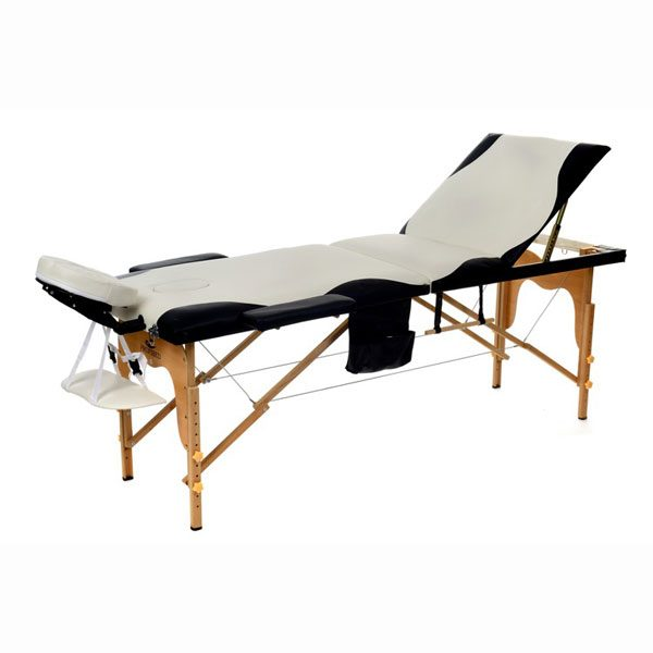 Foldable Massage Bed Black White 1