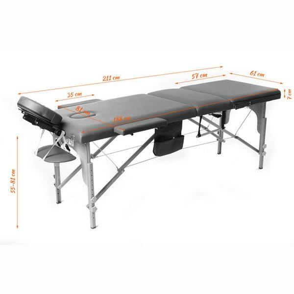 Foldable Massage Bed Black White 5