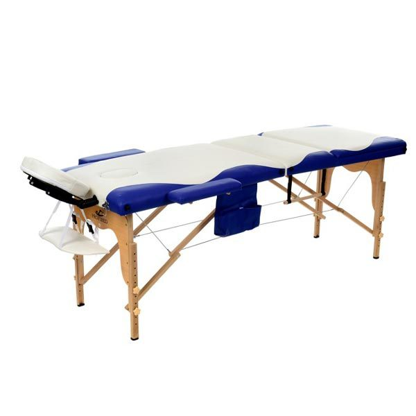 3 Section Foldable Massage Bed Blue White