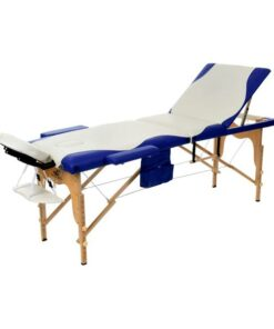 3 Section Foldable Massage Bed Blue White1