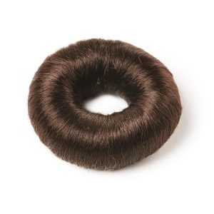 Hair Bun Round with Synthetic Hair Brown