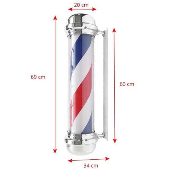 rotating barber pole size