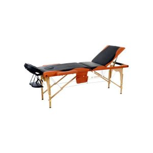3 Section Foldable Massage Bed Orange Black