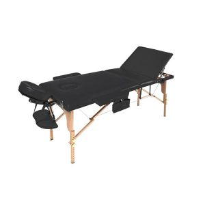 THBC Portable Wooden Massage Bed Black